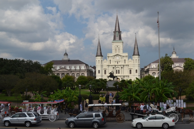 Jackson Square looks more like this—a busy place—during the day.